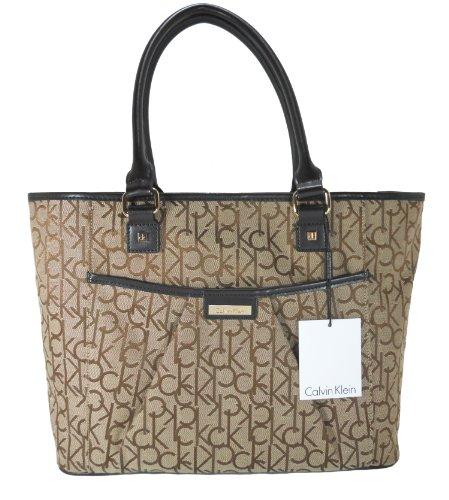 Calvin Klein Handbag, Hudson Jacquard Signature khk/brn