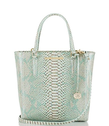Brahmin Opal Seville Collection Harrison Carryall Snake-Embossed Convertible Tote