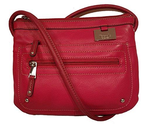 "Tignanello Double Zip Crossbody ""Raspberry"" Leather Organizer Handbag"