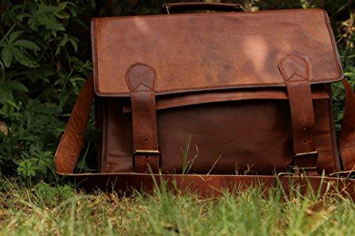 Handmadecraft Classic Leather Messenger Satchel Laptop Leather Briefcase Bag Leather Messenger Bag