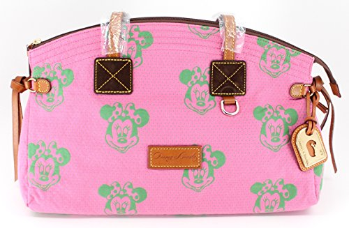 Disney Dooney & Bourke Minnie Mouse Green Faces Pink Canvas Domed Satchel Bag