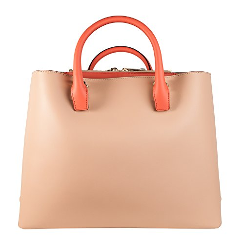 Chloé Baylee large coral pop and blush nude two-tone leather tote