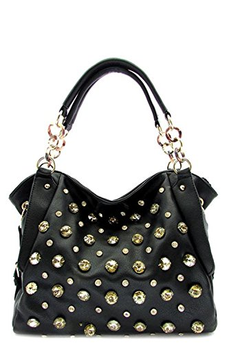 Fashion Handbag Purse Bag Rhinestone Designer Tote Black – 3038