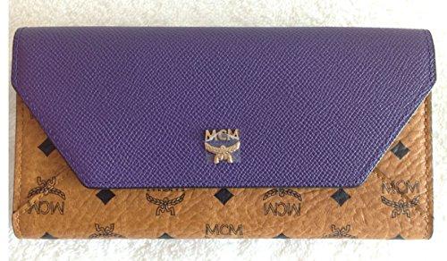 MCM Authentic Love Letter Viseto Envelope Large Wallet Cognac Purple Myl4av137