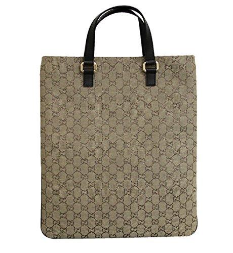 Gucci Beige Canvas Top Handle Handbag Flat Tote Laptop Bag