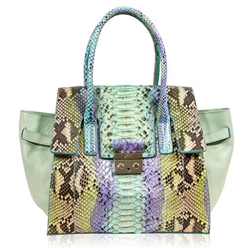 Ghibli Italian Designer Turquoise Blue Python Leather Oversized Tote Purse Crossbody Bag