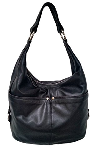 Tignanello Polished Pockets Leather Hobo Bag Handbag, Black