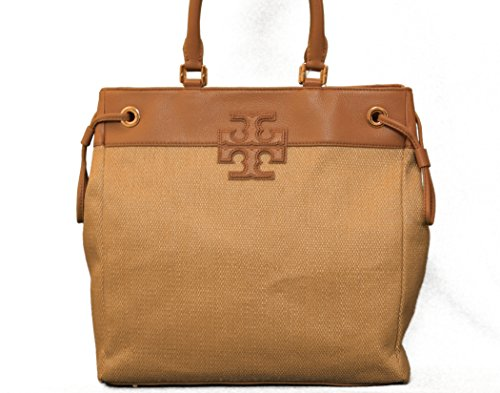 Tory Burch Straw Stacked T logo NS Tote in Natural/Royal Tan
