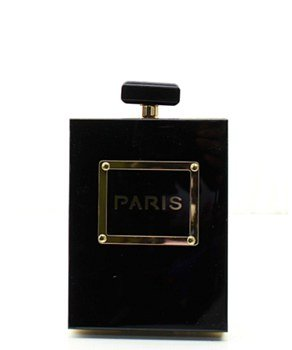 Fashion Paris Perfume Bottle Clutch Evening Shoulder Bag Black