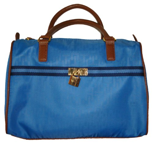 Tommy Hilfiger Women's Satchel Style Handbag, Blue Logo/Brown