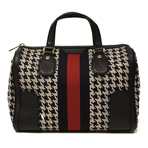 Gucci Seventies Web Boston Bag 271623 FZ61W Navy Blue Houndstooth