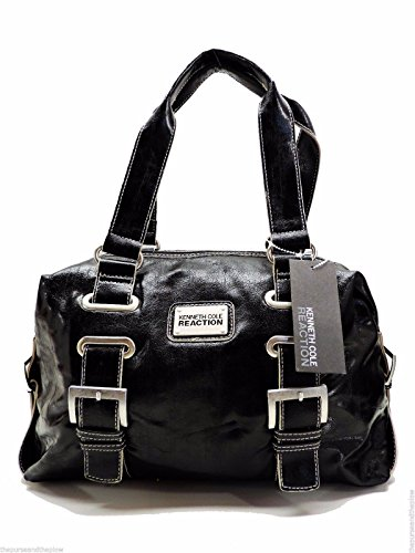 Kenneth Cole Reaction Interconnect Large Satchel Black Shoulder Handbag