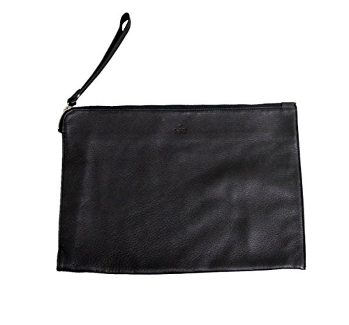 Gucci Unisex Black Leather Large Pouch Wristlet Bag 256395