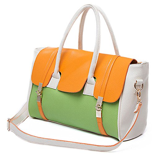 MG Collection SAFIYA Orange Green Textured Dual Turn Lock Office Bag Tote Purse