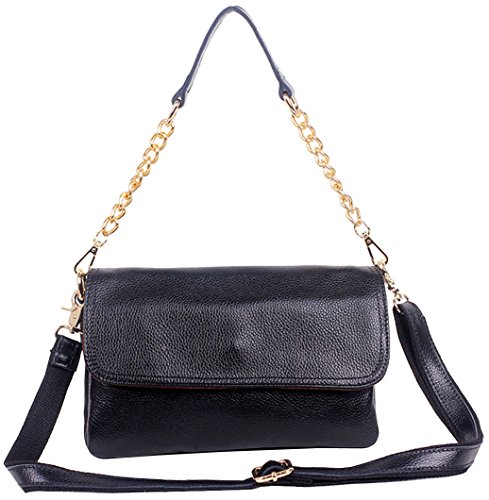 Heshe® Women New Fashion Genuine Leather Tote Cross-body Shoulder Handbag Hobo Clutch Bag Simple for Ladies