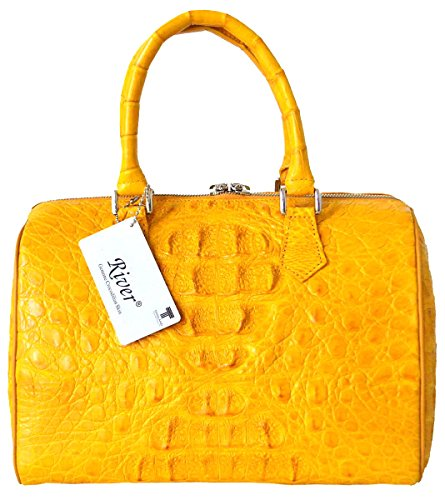 Authentic River Crocodile Skin Womens Genuine Hornback Leather Clutch Bag Purse W/Strap Yellow Handbag
