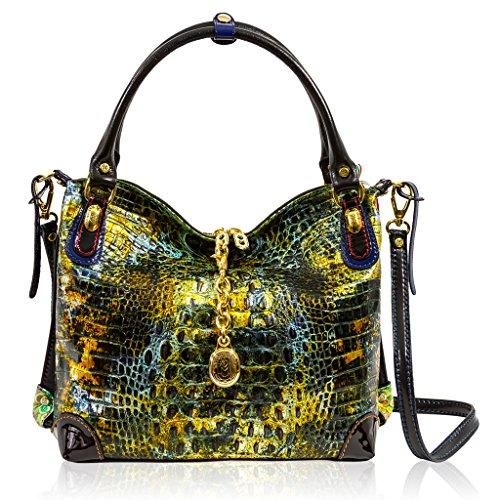Marino Orlandi Italian Designer Golden Green Alligator Leather Large Purse Crossbody Bag