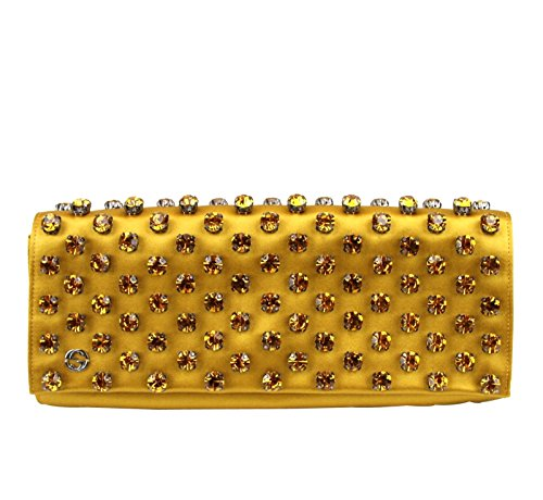 Gucci Mustard Yellow Swarovski Crystals Broadway Satin Clutch 339239 7068