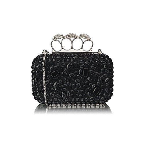 Womens Black Crystals Flower Knuckles Rings Clutch Evening Bag – KCMODE – with gift box
