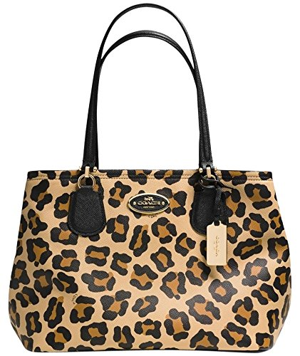 Coach Women's Kitt Crossgrain Leather Carryall, One Size, Ocelot Print
