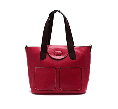Palladium Eugene-2 Front Pocket Contrast Stitching Women's Chic Tote Shoulder Evening Bag With Pouch