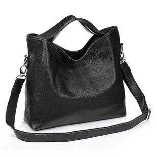 Ilishop Women's Black Tote Handbag Genuine Leather Shoulder Bag NB060-black