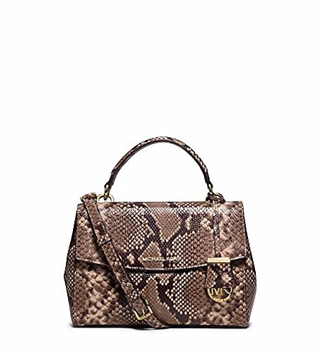 MICHAEL KORS AVA SMALL Embossed-Leather Satchel DARK KHAKI