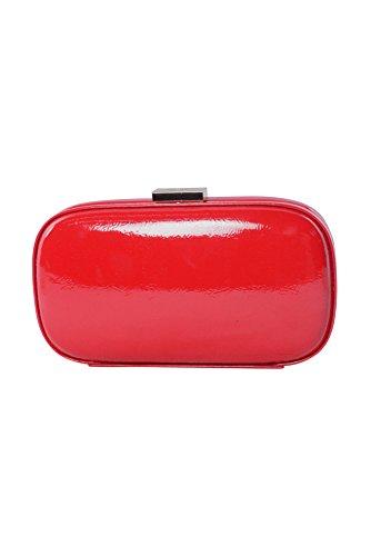 Anya Hindmarch Womens Red Patent Leather Box Clutch Handbag