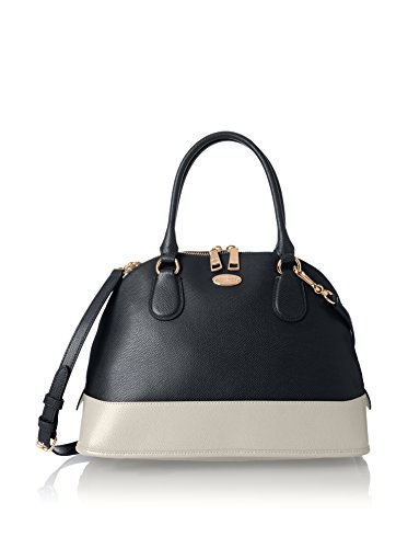 Coach $375 F34491 Cora Domed Satchel in Bicolor Crossgrain Leather Midnight/chalk