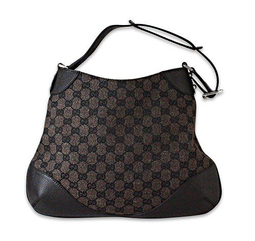 Gucci Brown Canvas Hobo Handbag Shoulder Bag 272386