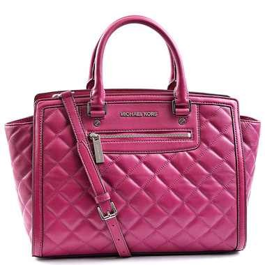 Michael Kors Selma Large Zip Top Satchel Tote Quilted Deep Pink Leather Handbag