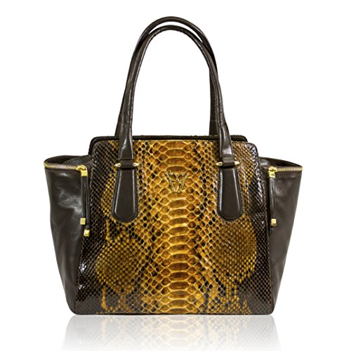 Ghibli Italian Designer Topaz Python Brown Leather Large Flared Tote Bag