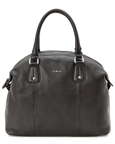 FURLA Raffaela Leather Satchel Bag, Black, One Size