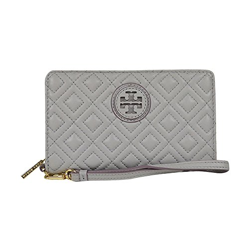 Tory Burch Quilt Light Grey Wallet Zip Around Wristlet New