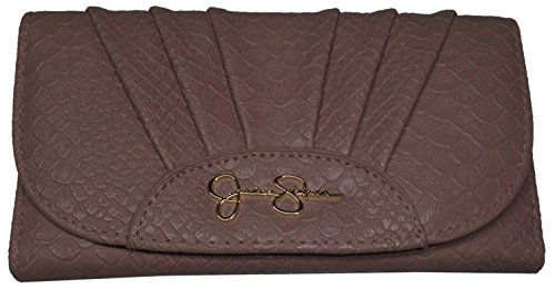 Jessica Simpson Emmy Dusty Lilac (Beige) Croco Clutch Wallet