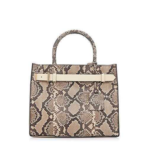 Reed Krakoff RK40 Genuine Python Leather Satchel Shoulder Bag Handbag Purse (Putty Black)