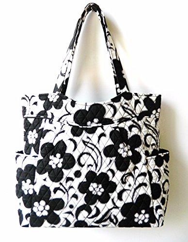 Vera Bradley Large Pleated Tote Night and Day Black and White Floral