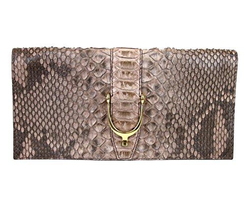 Gucci Ladies Nude Soft Stirrup Python Clutch Bag 304719 6820