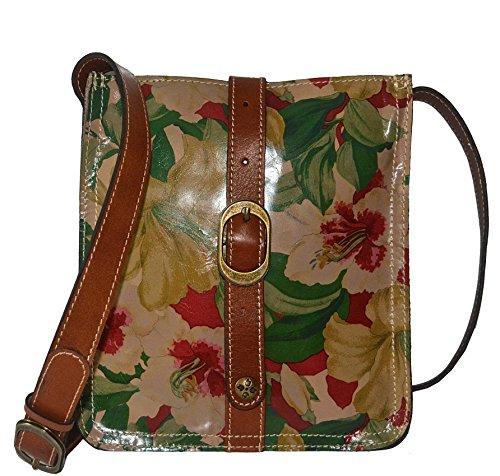 Patricia Nash Veg Tan Italian Leather Venezia Pouch Crossbody Handbag Spring Lily