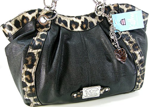 Kathy Van Zeeland Purse Satchel Hand Bag Shoulder Tote Leopard Cheetah Black