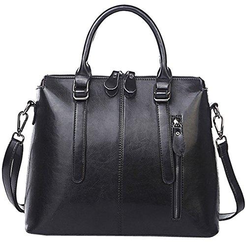Heshe® Women's New Fashion Genuine Leather Cross-body Handbag Tote Handle Bag Top Handle Handbag Shoulder Bag Personality Charm Simple Style for Ladies