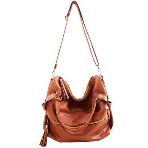 Fashion Lady Women Girl Casual Adjustable Clutch Tote Shoulder Purse Hobo Bag Messenger Handbags (Brown)