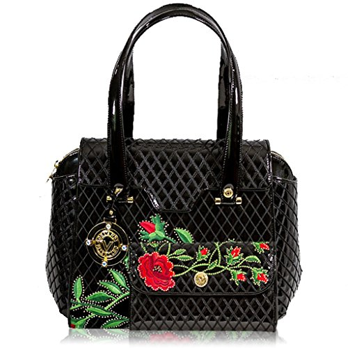 Valentino Orlandi Italian Designer Black Quilted Leather Bag w/Roses & Wallet Set