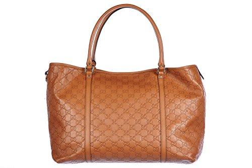 Gucci women's leather shoulder bag original calfskin tender gg saffron brown