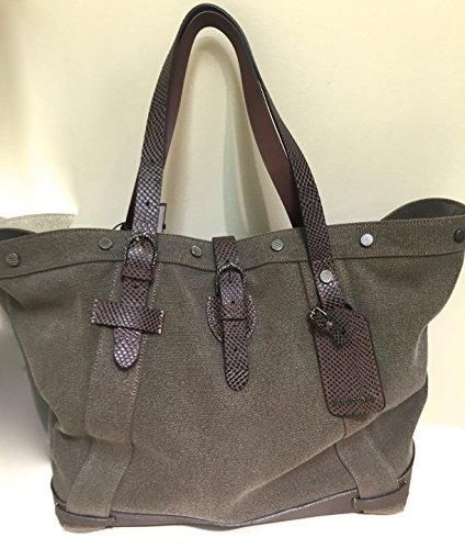Roberto Cavalli Designer Leather & Canvas Travel Weekend Shoulder Bag