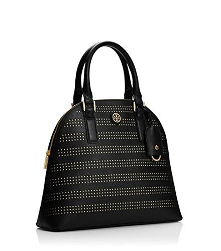 Tory Burch Satchel Bag Women Robinson Top-handle Perforated Leather Dome Black