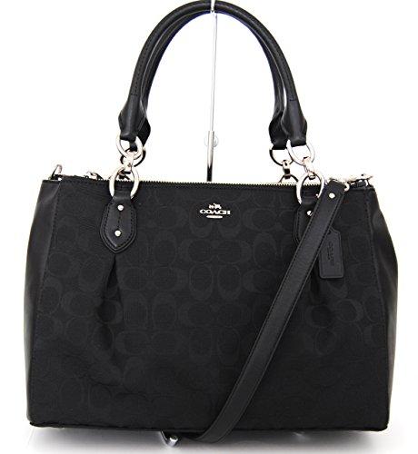 COACH 12cm Signature Colette Carryall Shoulder Bag Handbag Black 36376