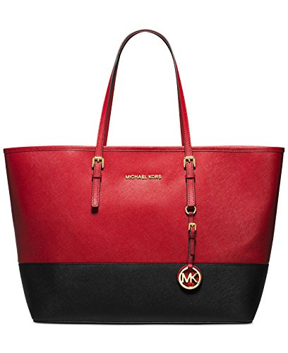Michael Kors Handbag Jet Set Travel Medium Colorblock Saffiano Travel Tote in Red and Black