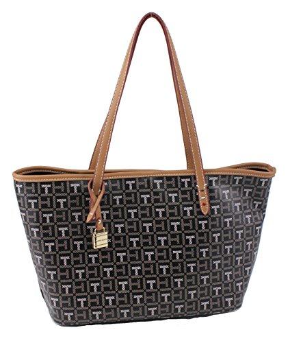 Tommy Hilfiger Monogram Coated Canvas Small Shopper Handbag, Black Multi