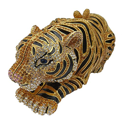 Gold Plated Tiger Clutch With Swarovski Element Crystals